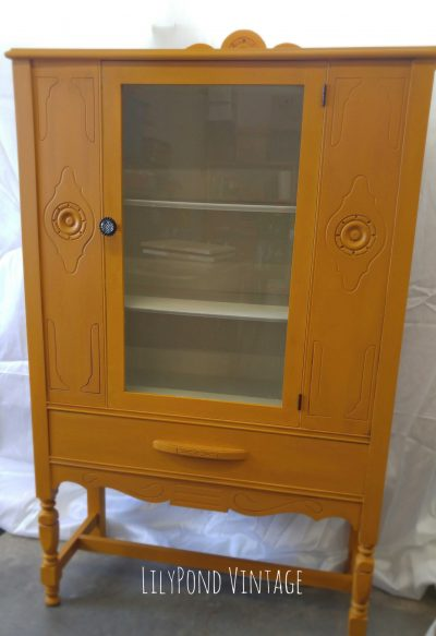 Painted China Cabinet LilyPond Vintage
